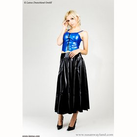 Latex Swinger-Rock lang, vorne offen